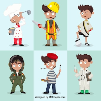 Variedad de personajes profesionales