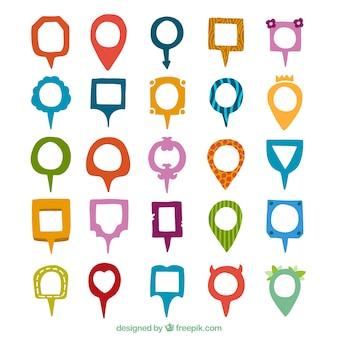 Variedad de punteros de colores y diferentes formas