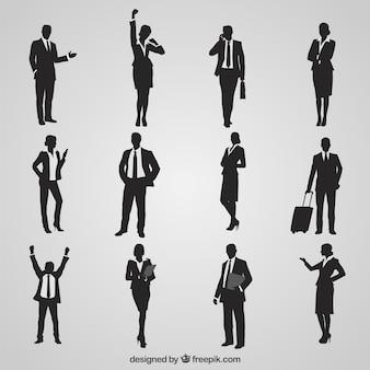 Variedad de siluetas de empresarios
