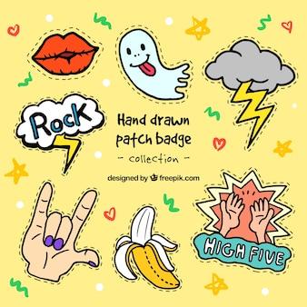 Variedad de simpáticos parches dibujados a mano
