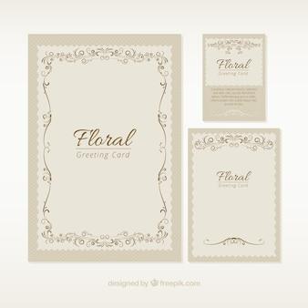 Variedad de tarjetas de felicitación floral vintage