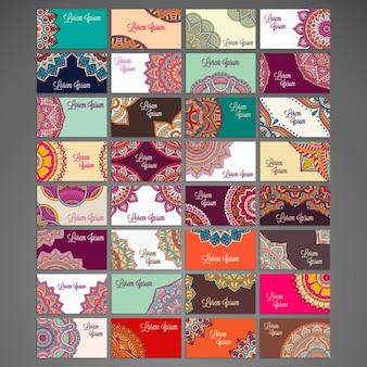 Variedad de tarjetas de visita étnicas