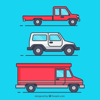 Variedad de vehículos en diseño plano
