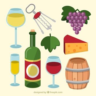 Variedad de vino con objetos en diseño plano