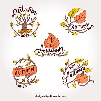 Variedad dibujada a mano de etiquetas de otoño