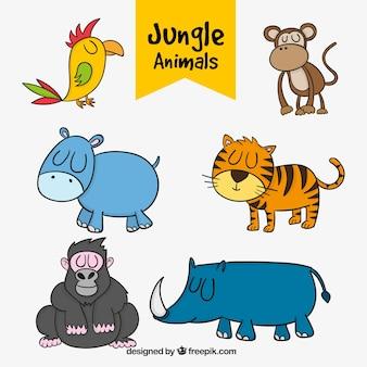 Varios animales de la jungla dibujados a mano