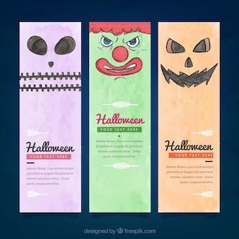 Varios banners de personajes de halloween