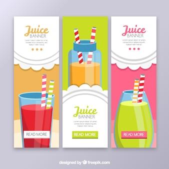 Varios banners de zumo de frutas