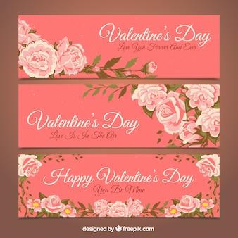 Varios banners florales para el día de san valentín