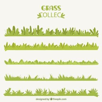 Varios bordes de hierba decorativos en diseño plano