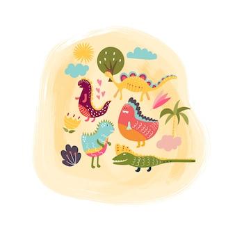 Varios dinosaurios graciosos de colores