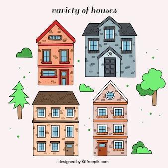 Varios edificios dibujados a mano