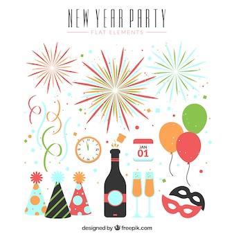 Varios elementos de fiesta de año nuevo