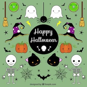 Varios elementos de halloween dibujados a mano