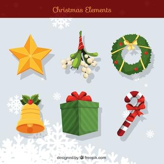 Varios elementos decorativos tradicionales de navidad