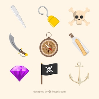 Varios elementos piratas en diseño plano