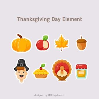 Varios elementos típicos de acción de gracias
