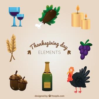 Varios elementos tradicionales de acción de gracias