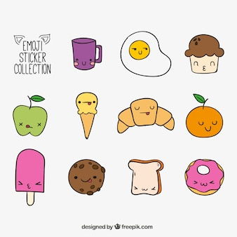 Varios emoticonos con diferentes expresiones faciales