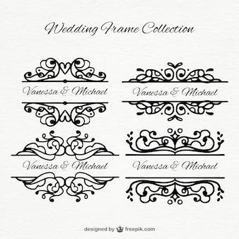 Varios marcos de boda dibujados a mano