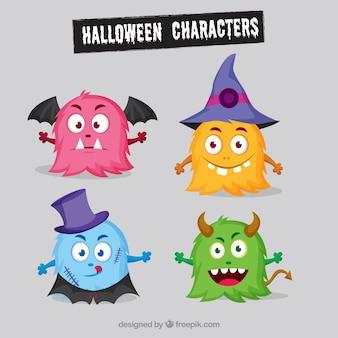 Varios monstruos de colores de halloween