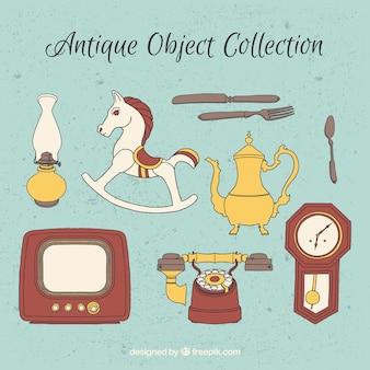 Varios objetos antiguos dibujados a mano