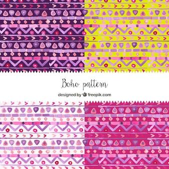 Varios patrones boho de colores de acuarela