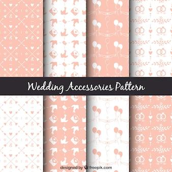 Varios patrones de boda bonitos en color rosa