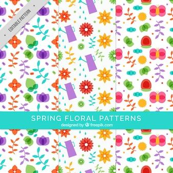 Varios patrones florales en diseño plano
