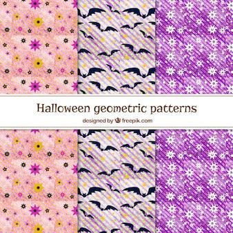 Varios patrones geométricos de acuarela