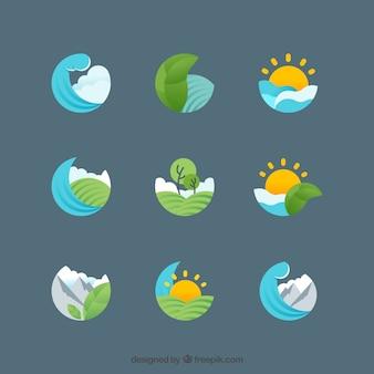 Varios símbolos de naturaleza en diseño plano