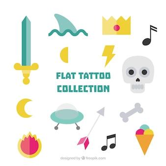 Varios tatuajes planos de colores