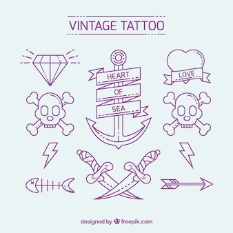 Varios tatuajes vintage dibujados a mano
