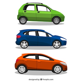 Varios vehículos planos con diferentes diseños