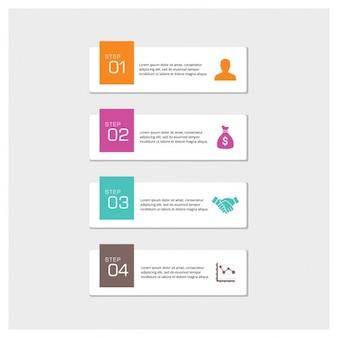 Vector 4 pasos infografía
