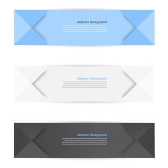 Vector banners de color. Curva y origami de papel