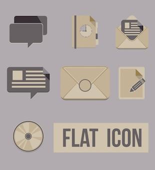 Vector conjunto de iconos de los modos de mensaje. Plano
