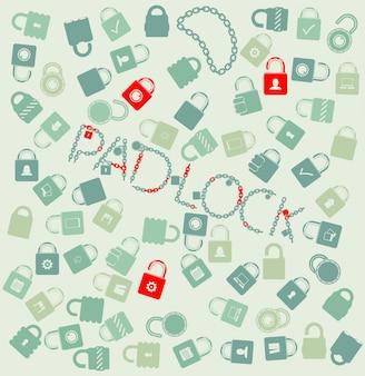 Vector conjunto de iconos web. pudlock y cadena sin fisuras