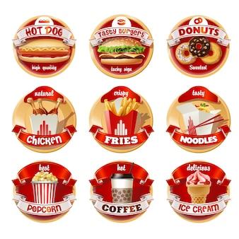 Vector conjunto de logotipos de comida rápida, pegatinas