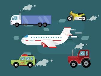 Vector conjunto de transporte para el diseño libre. Cer, camión, avión, bicicleta