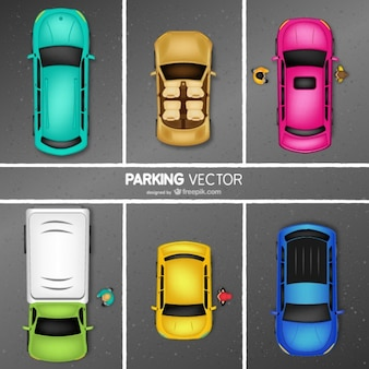 Vector de aparcamiento con coches de colores