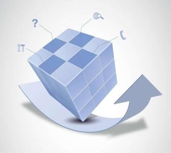 vector de cubo mágico y el diseño de la flecha