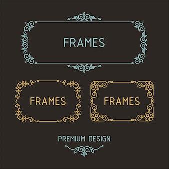 Vector de marcos de esquema. Elementos de diseño de plantillas.
