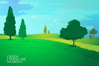 Vector de paisaje con árboles