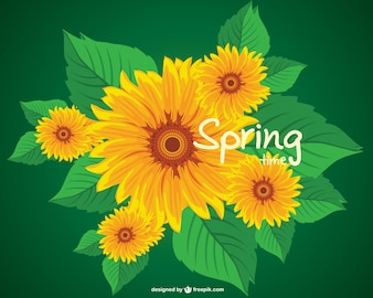 Vector de primavera con flores