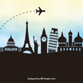 Vector de viajes con fondo poligonal