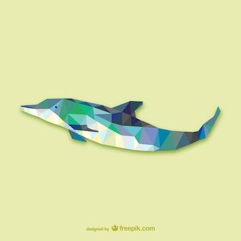 Vector delfín poligonal
