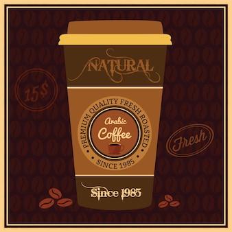 Vector desechables taza de café retro ilustración