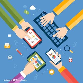 Vector dispositivos electrónicos y manos