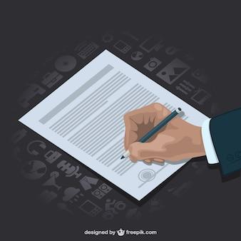 Vector empresario firmando contrato